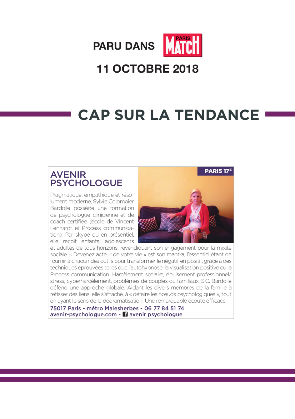 Avenir Psychologue Paris 17 - Gestion du stress, confiance en soi , communication adultes, adolescents et enfants